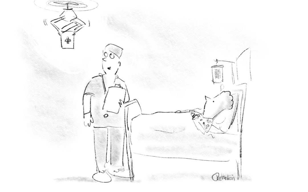 Medical drone cartoon